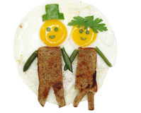 Creative egg breakfast for child face form Stock Photos