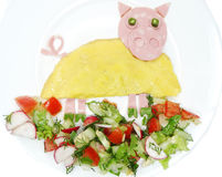 Creative egg breakfast for child pig form Royalty Free Stock Photography