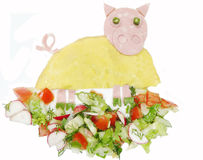 Creative egg breakfast for child pig form Royalty Free Stock Images