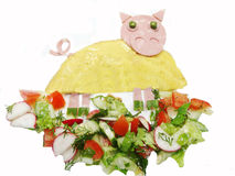 Creative egg breakfast for child pig form Stock Images
