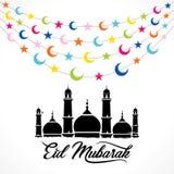 Happy eid mubarak greeting design. Creative Eid Mubarak Festival greeting card design, colorful star and moon hang on rope Stock Image