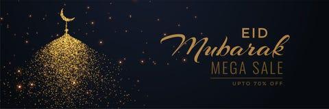 Creative eid sale banner header with sparkle mosque. Illustration Vector Illustration