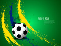 Creative elegant football background with Brazil colors grunge splash. Royalty Free Stock Photography