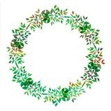 Creative element for design. Vibrant hand painted watercolor wreath of green leaves. abstract herbal frame. Botanical detail. On white background vector illustration