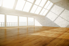 Creative empty interior side. Side view of creative empty interior with balcony, wooden floor, white brick walls and daylight. 3D Rendering Royalty Free Stock Photo