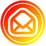 A creative envelope letter circular in hot gradient spectrum. An original creative envelope letter circular in hot gradient spectrum stock illustration