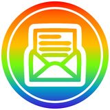 A creative envelope letter circular in rainbow spectrum. An original creative envelope letter circular in rainbow spectrum vector illustration