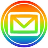 A creative envelope letter circular in rainbow spectrum. An original creative envelope letter circular in rainbow spectrum stock illustration
