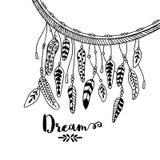 Creative ethnic boho feathers. Royalty Free Stock Images