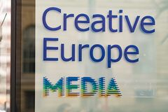 Creative Europe MEDIA logo. Berlin, Germany - February 22, 2018: Creative Europe MEDIA at Berlinale`s EFM European Film Market, one of the most important Royalty Free Stock Image