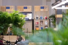Creative Europe MEDIA programme booth. Berlin, Germany - February 22, 2018: Creative Europe MEDIA programme booth at the Berlinale`s EFM European Film Market Stock Photos