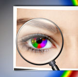 Creative Eye. Multicolored eye with magnifying glass vector illustration