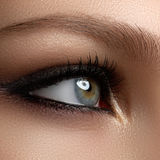 Creative eye makeup. Fashionable smoke eyes. Cosmetics and make- Stock Photography
