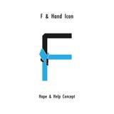 Creative F- alphabet icon abstract and hands icon design vector Stock Photos
