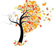 Creative fall tree. Colorful creative leaves blowing off a tree in the fall Royalty Free Stock Photo