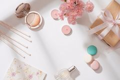 Creative and fashion composition. Stationery objects on desk. Fl stock photos