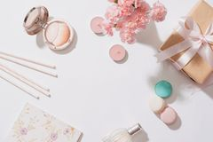Creative and fashion composition. Stationery objects on desk. Fl. At lay. Accessories on the table, woman desk top stock photography