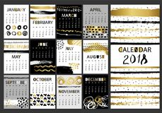 Creative fashion glamour hand drawn calligraphic calendar 2018. Vector collection of black, white, gold textured cards. Beautiful posters with geometric shapes Stock Photo