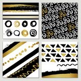 Creative fashion glamour hand drawn calligraphic card set. Vector collection of black, white, gold textured cards. Beautiful poste. Rs with geometric shapes Royalty Free Stock Image