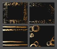 Creative fashion glamour hand drawn calligraphic card set. Vector collection of black, white, gold textured cards. Beautiful poste. Rs with geometric shapes Stock Photography