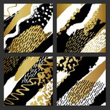 Creative fashion glamour hand drawn calligraphic card set.. Vector collection of black, white, gold textured cards. Beautiful posters with geometric shapes Stock Photos