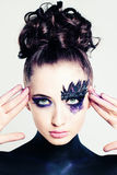 Creative Fashion Look. Young Woman with Makeup Royalty Free Stock Image