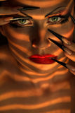 Creative fashion makeup and manicure Royalty Free Stock Images