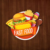 Creative Fast Food Sticker design. Creative Fast Food Sticker with glossy ribbon, Illustration of different foods on wooden background, Can be used as Poster Royalty Free Stock Images