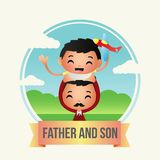 Creative Father and Son Illustration Design Vector Art Logo. Creative Father and Son Illustration Design for various used and purposed just for you the great Royalty Free Stock Photo