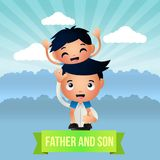 Creative Father and Son Illustration Design Vector Art Logo. Creative Father and Son Illustration Design for various used and purposed just for you the great Royalty Free Stock Image