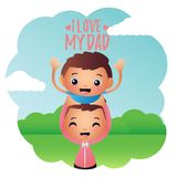 Creative Father and Son Illustration Design Vector Art Logo. Creative Father and Son Illustration Design for various used and purposed just for you the great Stock Images