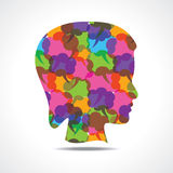 Creative female face of colorful message bubble Royalty Free Stock Photography