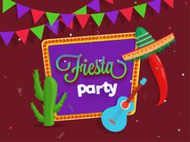 Creative Fiesta Party flyer design with illustration of guitar,. Cactus plant and sombrero hat on brown background with colorful bunting flag Stock Photos