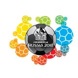 FIFA world cup 2018 poster. Creative FIFA world cup 2018 greeting or poster design, colorful ball background Royalty Free Stock Images
