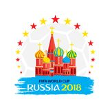 FIFA world cup 2018 poster. Creative FIFA world cup 2018 greeting or poster design. Moscow monument Royalty Free Stock Photography