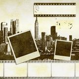 Creative film strip background with stylized city skyline. Creative film strip background with stylized city skyline and instant photos Royalty Free Stock Photos