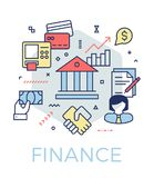 Creative finance and banking concept illustration. Thin line icons design banner for web, prints and mobile apps Stock Image