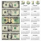 2016 Creative financial calendar. For print or web Royalty Free Stock Photo