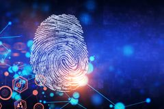 Creative fingerprint background. Creative finger print background with copy space. Access and security concept. 3D Rendering Stock Photo