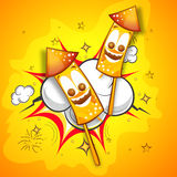 Creative firecrackers for Happy Diwali. Creative funny firecrackers on pop art explosion for Indian Festival of Lights, Happy Diwali celebration Royalty Free Stock Photography