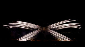 Creative fireworks isolated in dark background on fireworks festival Royalty Free Stock Photos