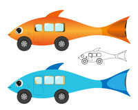 Creative fish bus Royalty Free Stock Images