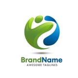 Creative fitness logo vector. Creative circle 3d fitness logo vector, happy people fun 3d logo, colorful fun logo vector stock illustration