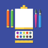 Creative flat illustration of tools, art supplies for design, dr Royalty Free Stock Photos