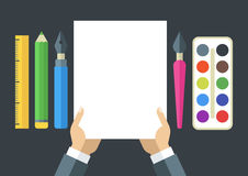 Creative flat illustration of tools and art supplies for design, Stock Photography