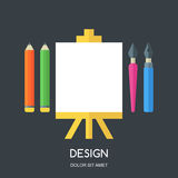 Creative flat illustration of tools and art supplies for design,. Drawing, painting. Vector icon set of pen, pencil, brush, white blank sheet of paper on easel Stock Photography