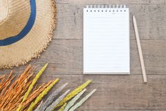 Creative flat lay of Autumn and Fall concept, Dried flowers, straw hat and blank notebook with pencil on wooden. Background Royalty Free Stock Image