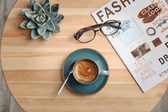 Creative flat lay composition with delicious hot coffee. On table royalty free stock photos