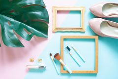 Creative flat lay of fashion blogger set on color background, St. Ylish and trendy workspace Stock Photos