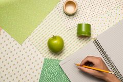 Creative flat lay photo of cute workspace desk.  Stock Images